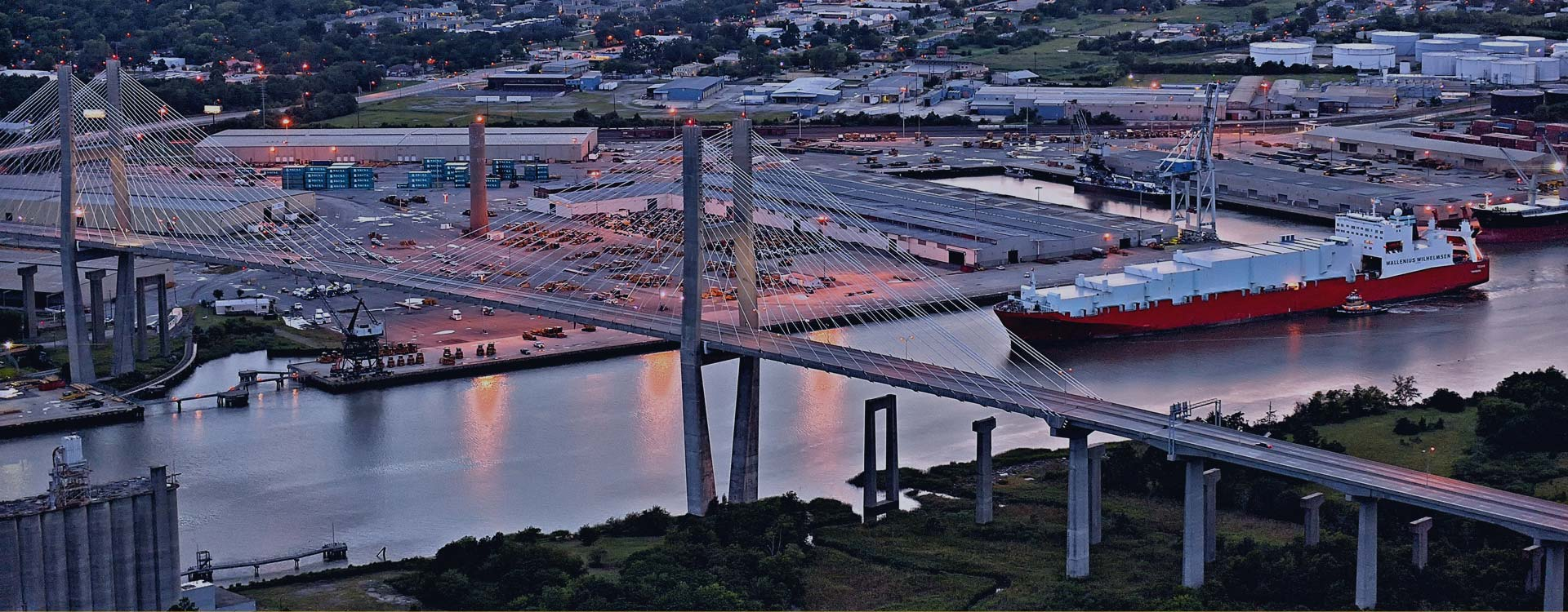 Aerial view of Talmadge Bridge provided by Southeast Helicopter