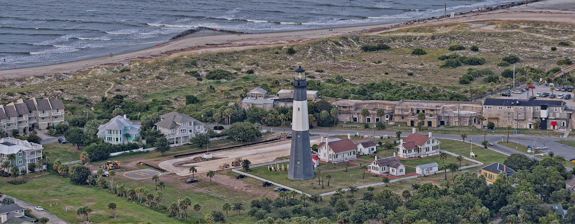 Aerial view of Tybee Island provided by Southeast Helicopter